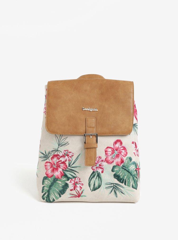 Hnědo-béžový batoh s květovanou výšivkou Desigual Hannah Toronto