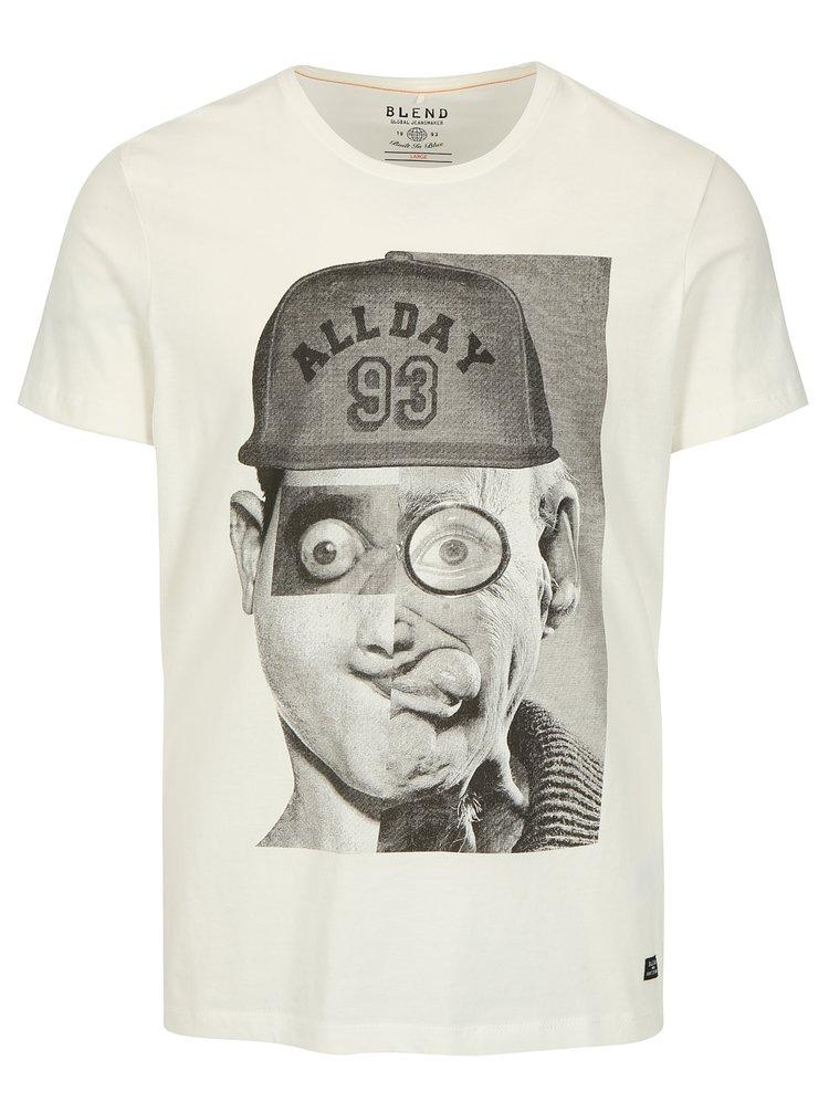 Krémové slim fit tričko s potlačou Blend