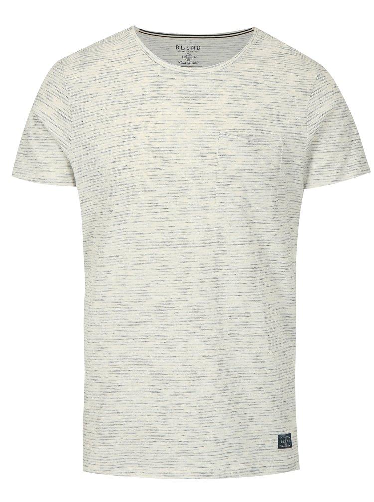 Krémové žíhané slim fit tričko s náprsní kapsou Blend