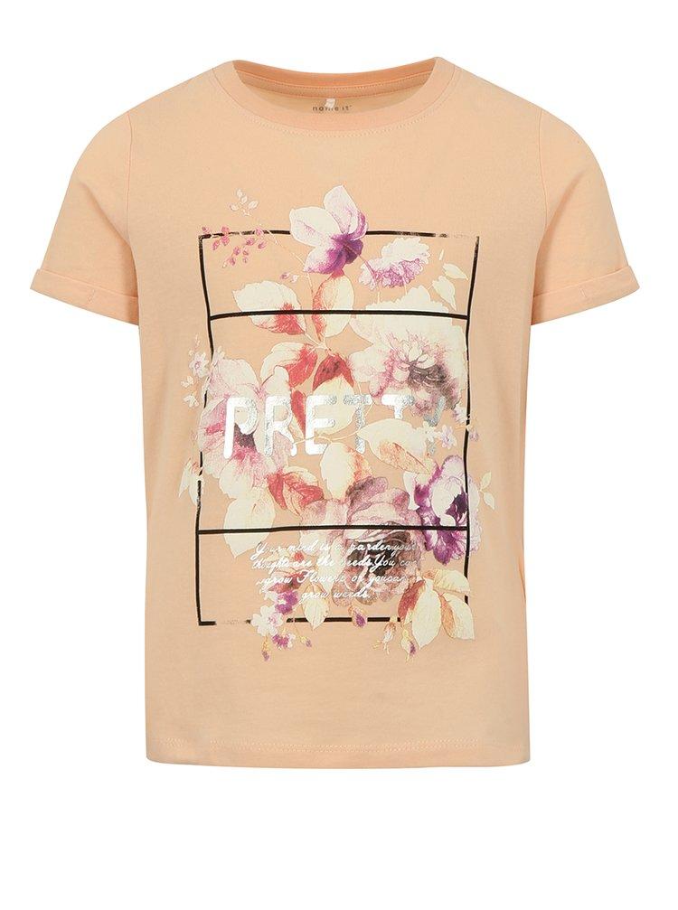Meruňkové holčičí tričko s potiskem name it Sandy