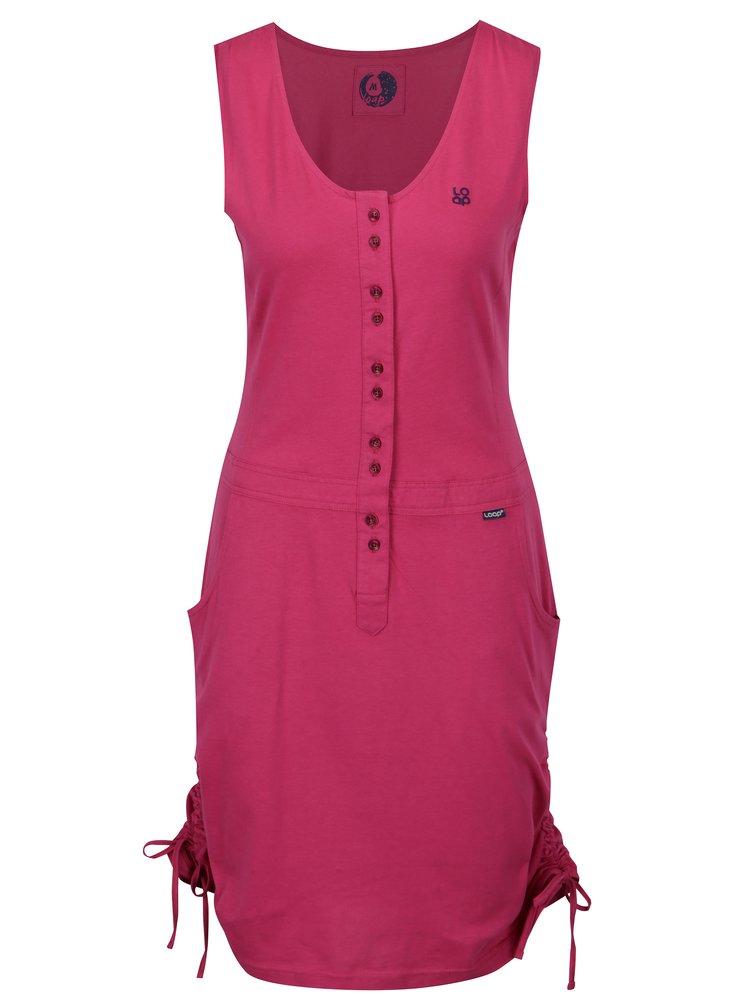 Tmavoružové šaty so sťahovaním na bokoch LOAP Nela