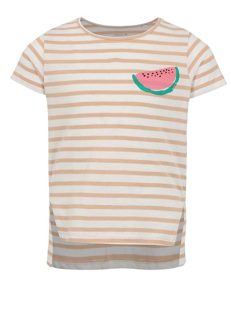 Hnědo-bílé holčičí pruhované tričko s potiskem name it Via