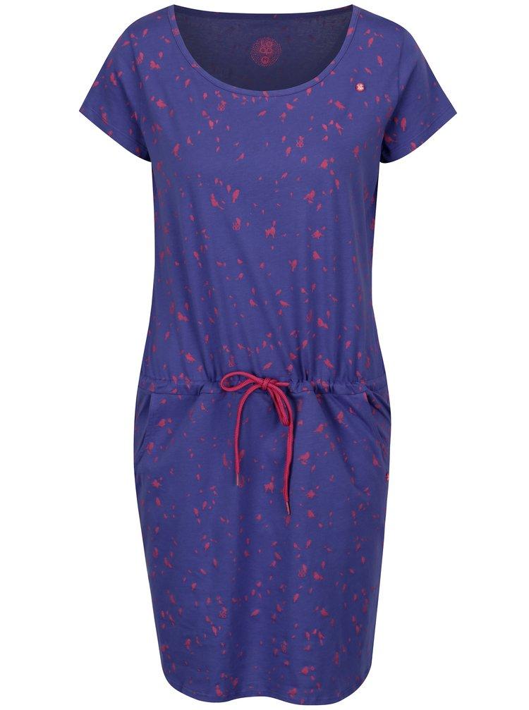 Tmavě fialové šaty s krátkým rukávem a potiskem ptáků LOAP Amber