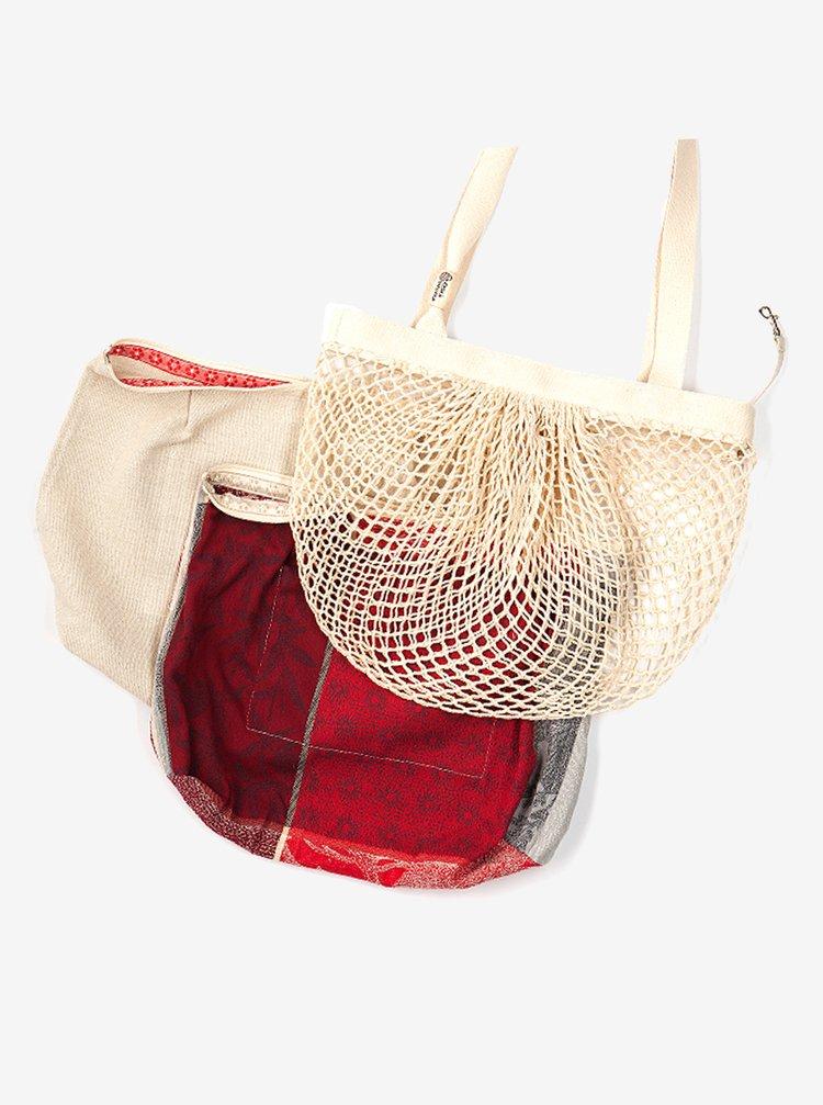 Červeno-krémová síťová taška Česká síťovka Switch Bag