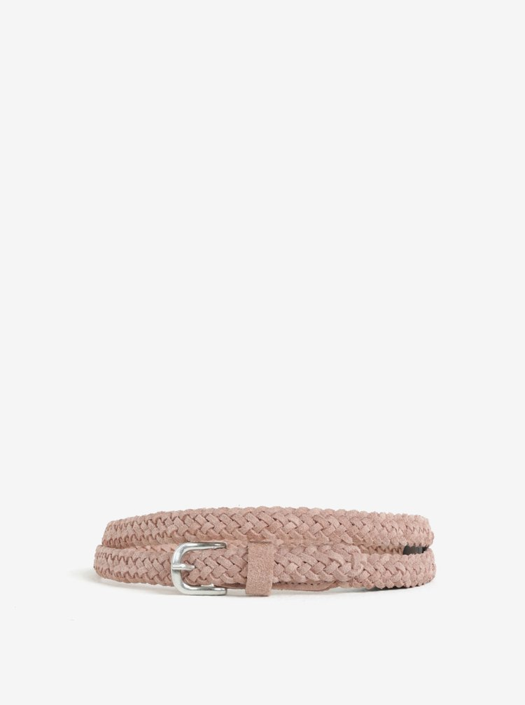 Růžový semišový pletený pásek Pieces Gem