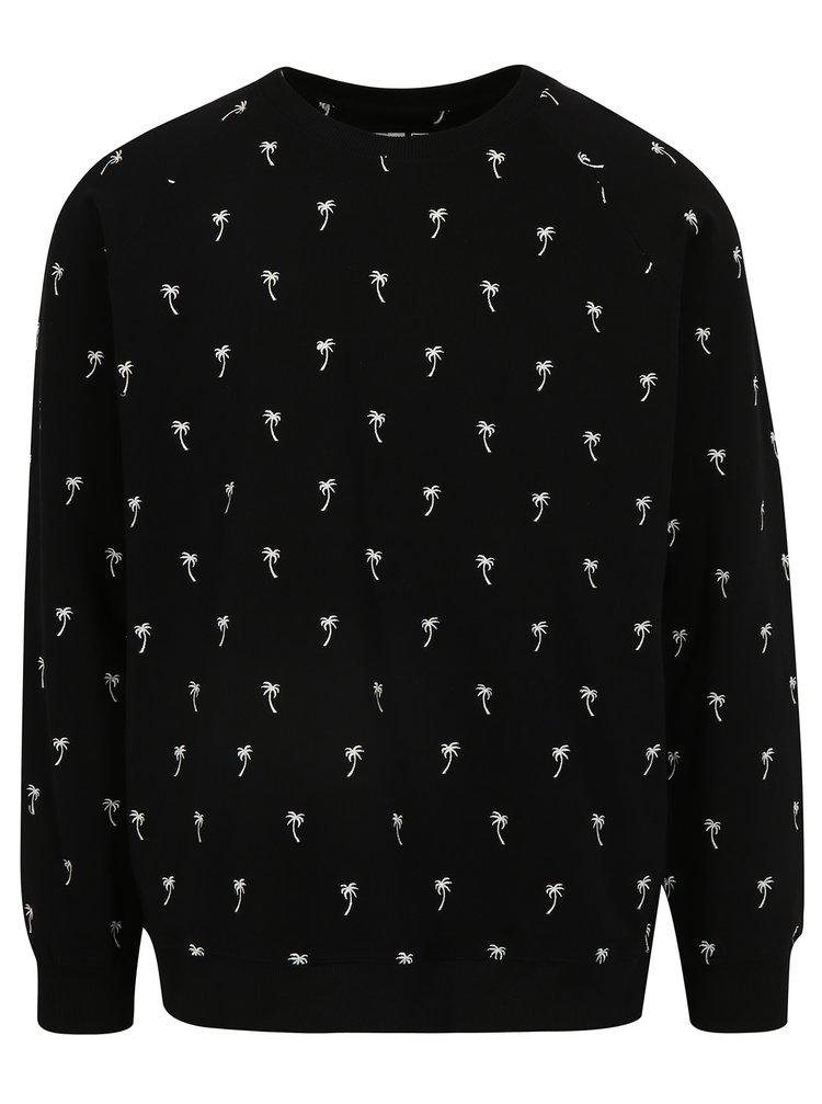 Černá mikina s výšivkou Dedicated Ditsy Palms