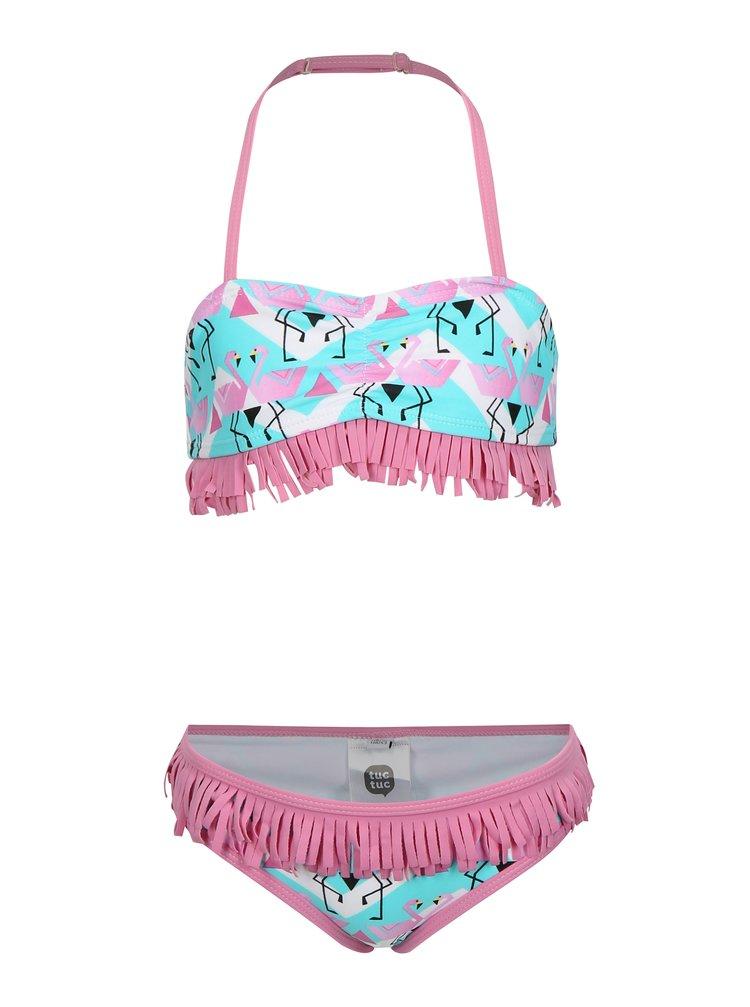 Zeleno-růžové dvoudílné holčičí plavky tuc tuc Fringe