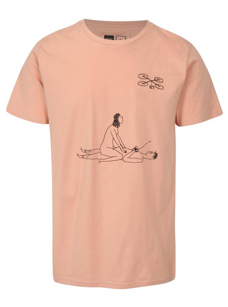 Tricou roz cu print funny Dedicated Drone Love
