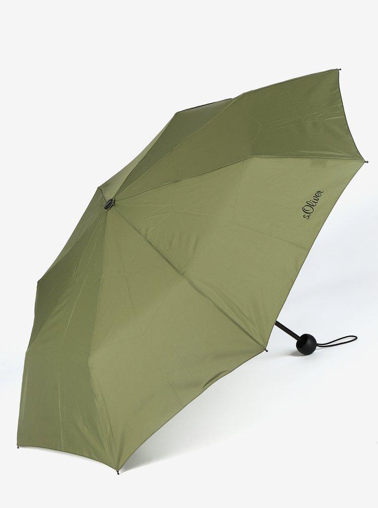 Khaki skládací deštník s.Oliver