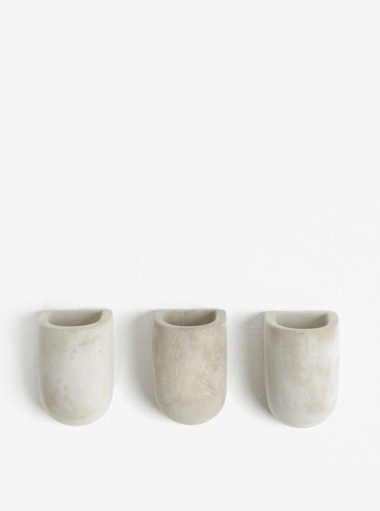 Sada tří květináčů s magnetem v šedé barvě Gift Republic