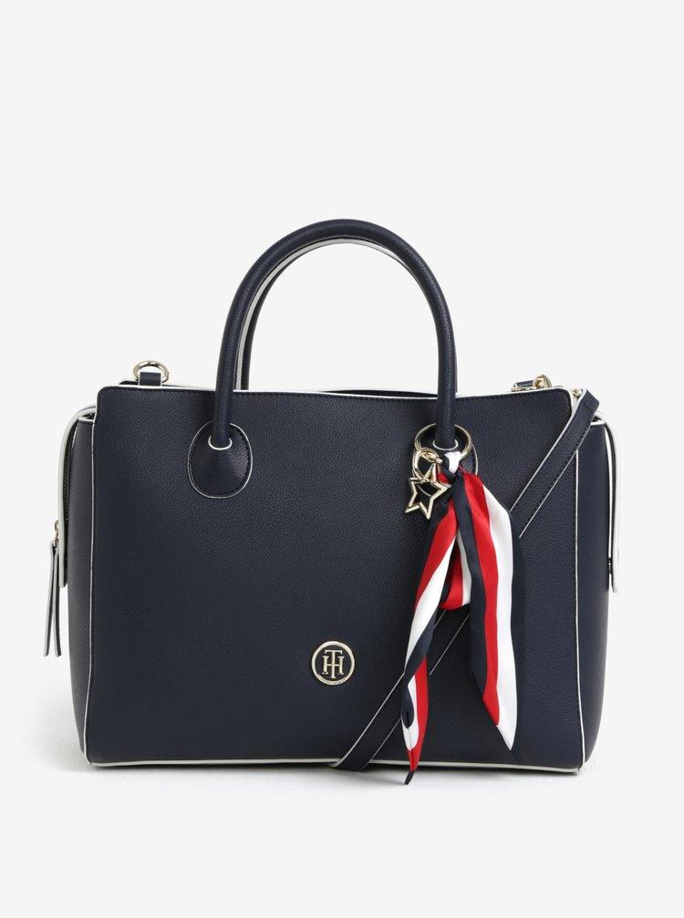 Tmavě modrá dámská kabelka s šátkem Tommy Hilfiger
