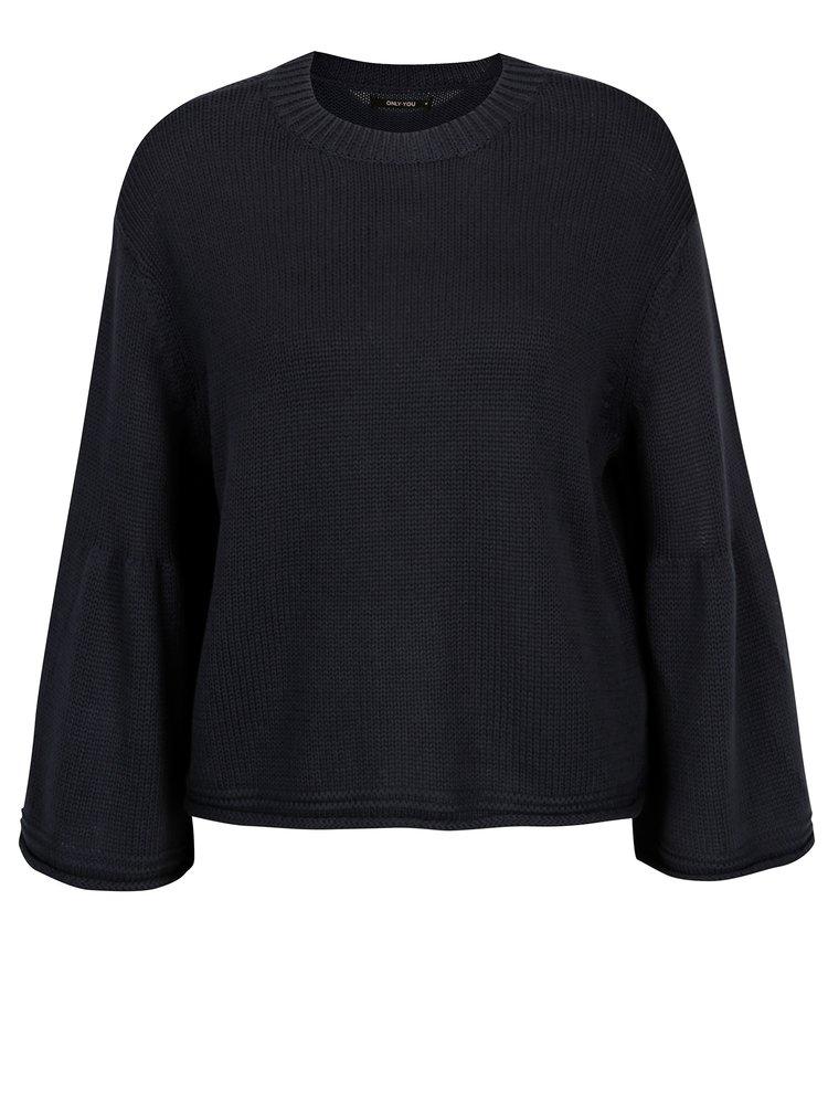Tmavomodrý voľný crop sveter ONLY Sana