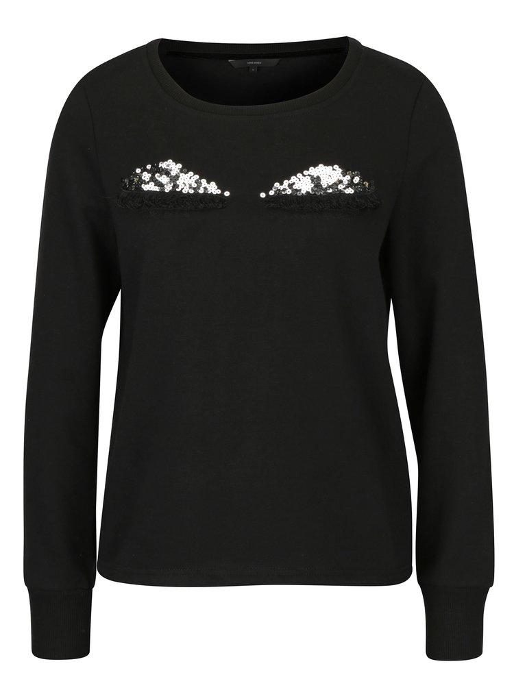 Bluza neagra cu model cu ochi inchisi din paiete si franjuri - VERO MODA Eye