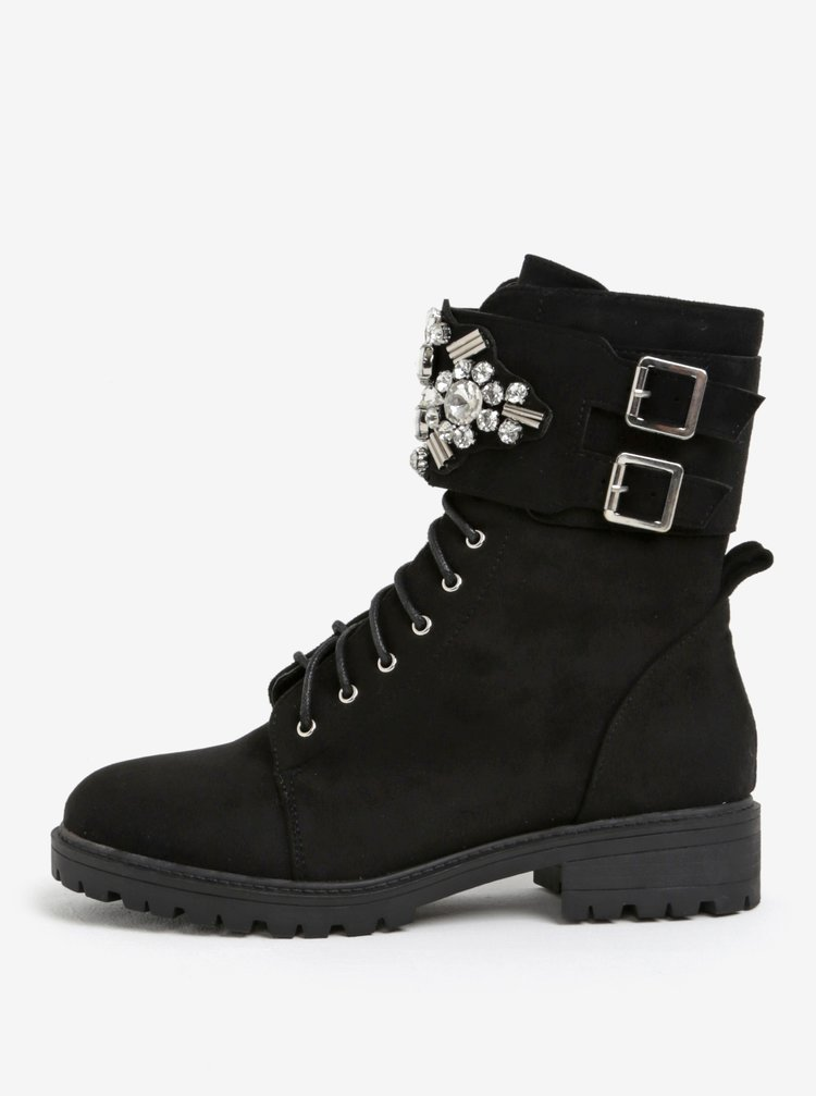 Černé kotníkové boty s ozdobami MISSGUIDED
