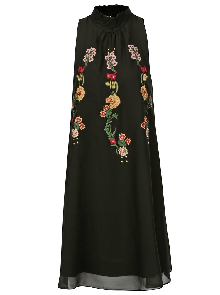 Rochie neagra cu broderie florala Desigual Angy