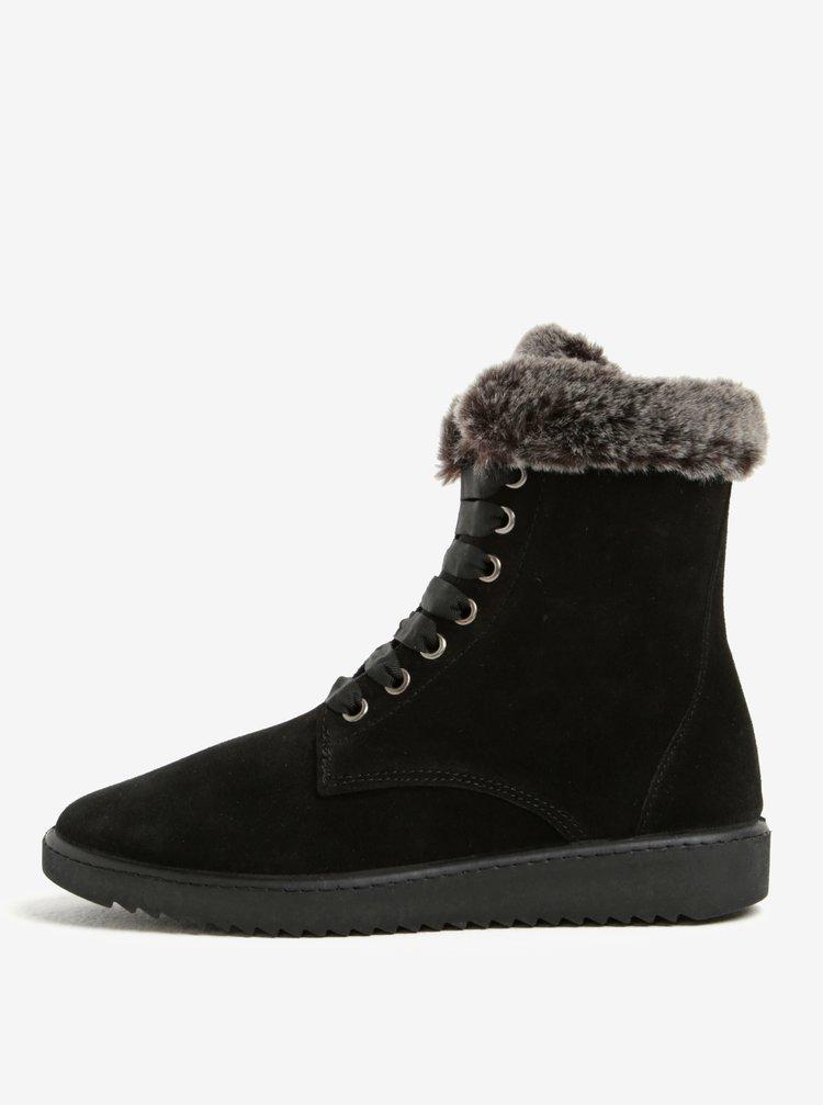 Černé semišové kotníkové boty s umělým kožíškem OJJU