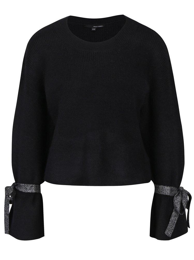 Černý svetr s třpytivými pásky na rukávech TALLY WEiJL