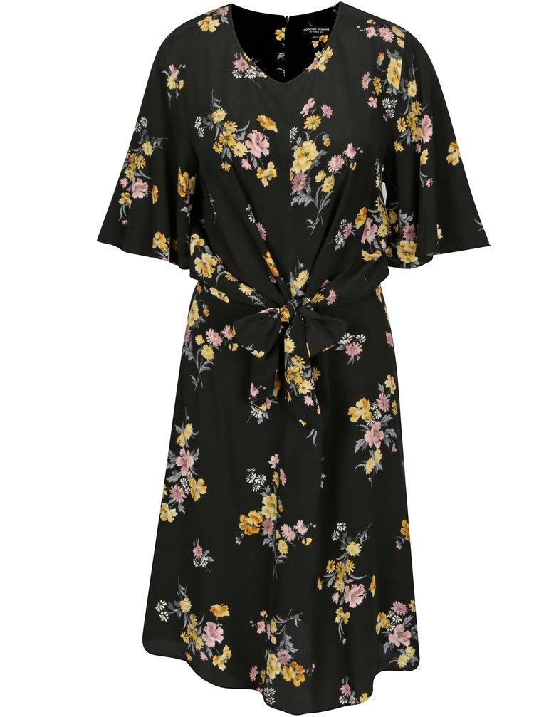 Čierne kvetované šaty s uzlom Dorothy Perkins Tall