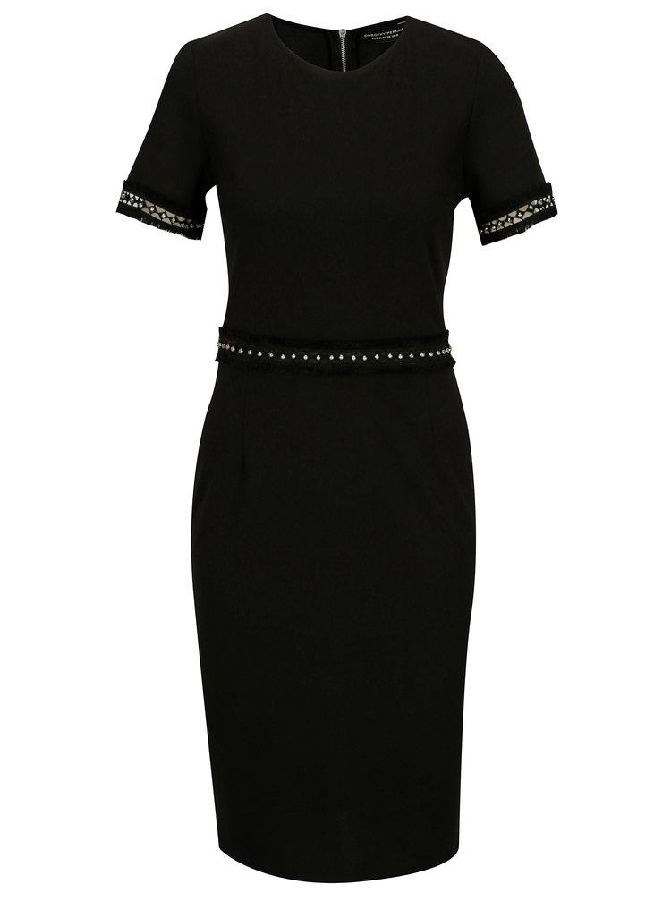 Černé pouzdrové šaty s ozdobnými korálky Dorothy Perkins