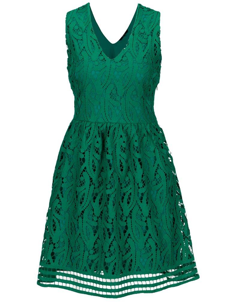 Rochie verde cu broderie sparta VERO MODA New Exclusive