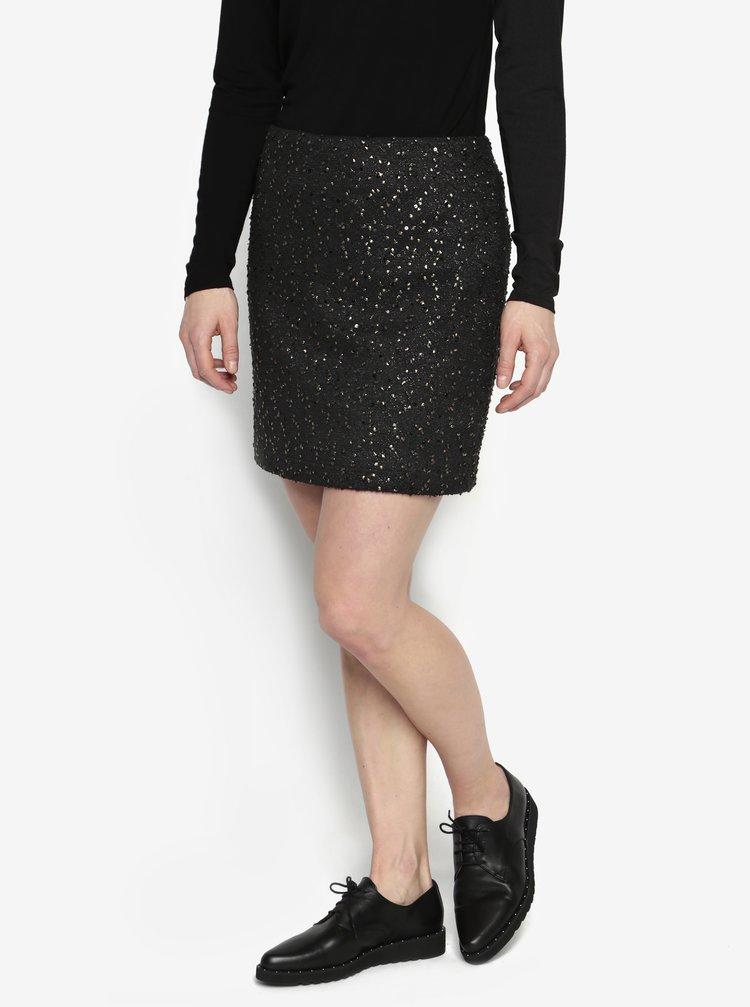 Černá vzorovaná sukně s detaily ve zlaté barvě Oasis Spot