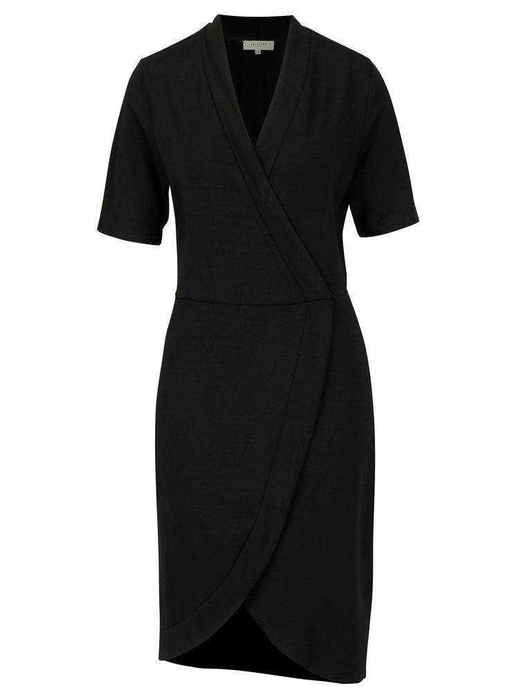 Černé šaty s překládaným předním dílem Selected Femme Elena