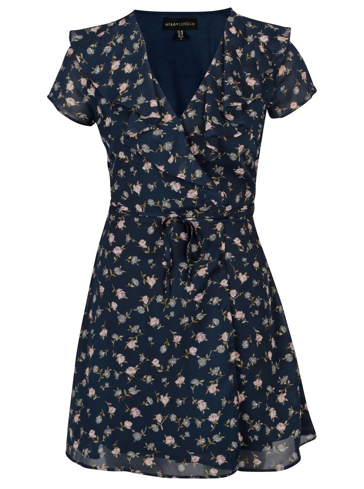 Rochie petrecuta bleaumarin cu print floral - Mela London