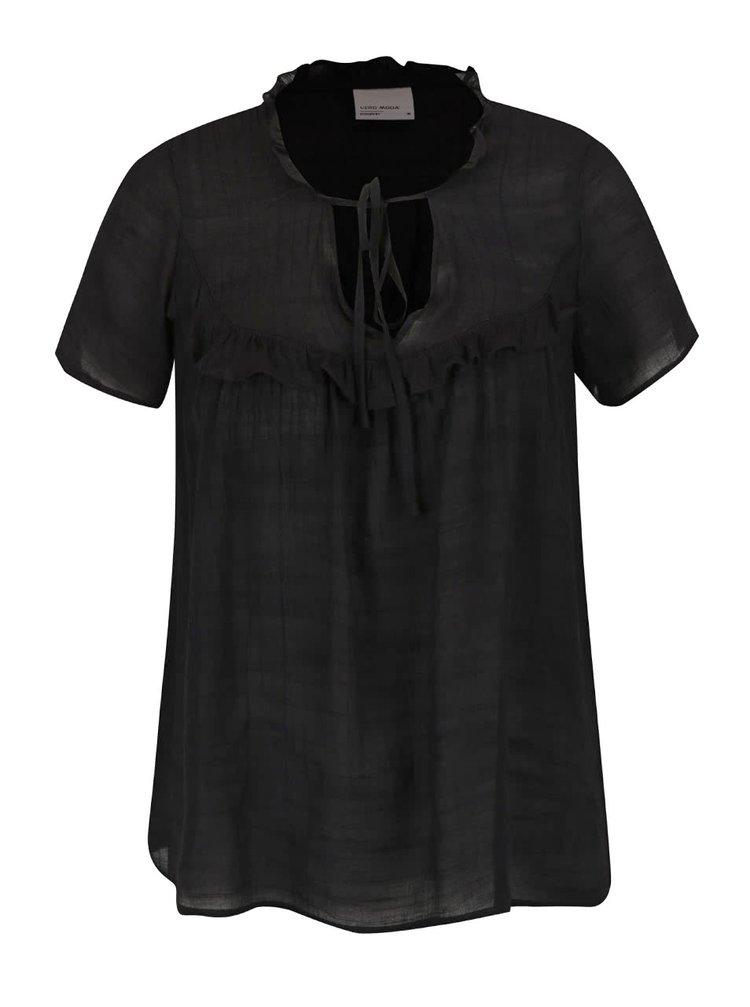 Bluza neagra cu volane VERO MODA Mandy
