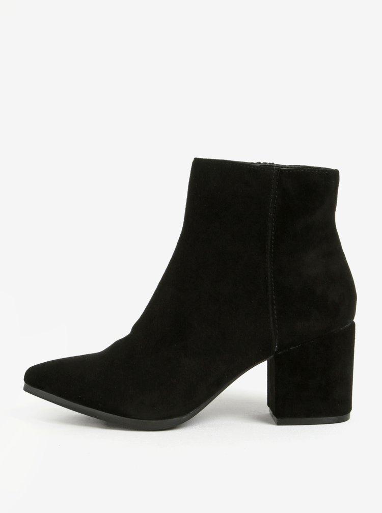 Černé semišové kotníkové boty s prodlouženou špičkou ALDO Fralissi