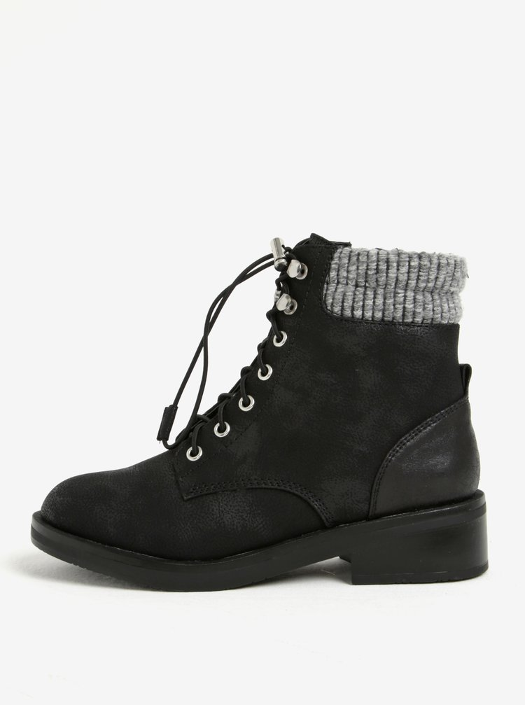 Černé dámské kotníkové zimní boty s umělou kožešinou ONLY Alexandra