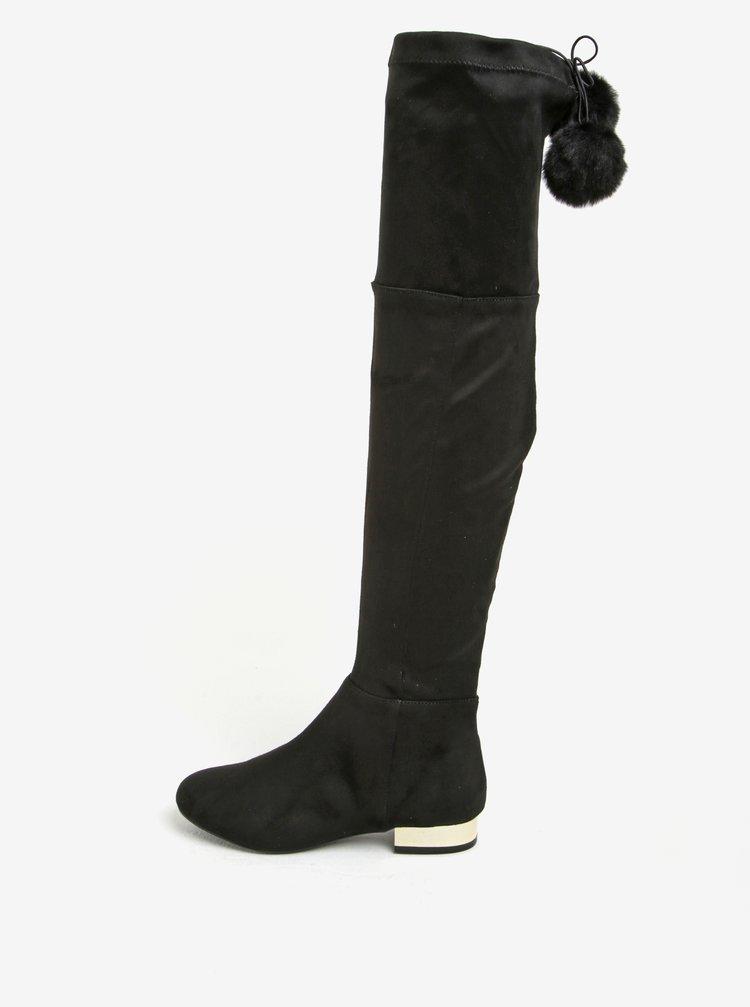 Černé vysoké kozačky v semišové úpravě Miss KG Vicky