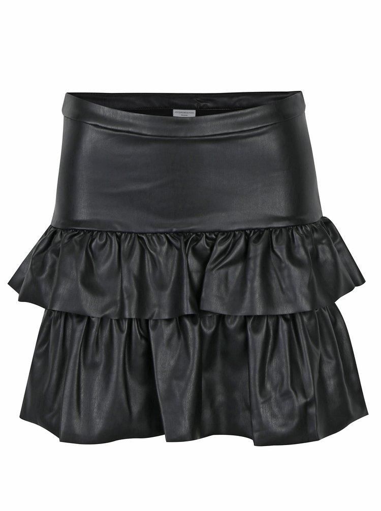 Černá koženková sukně s volány Jacqueline de Yong Punk
