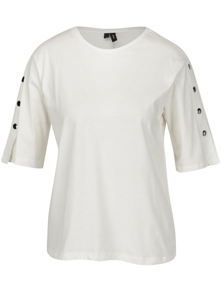 Tricou alb cu aplicatii pe maneci - VERO MODA Jane