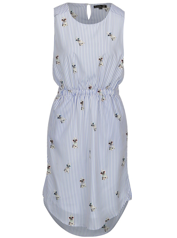 Bielo–modré pruhované šaty Smashed Lemon