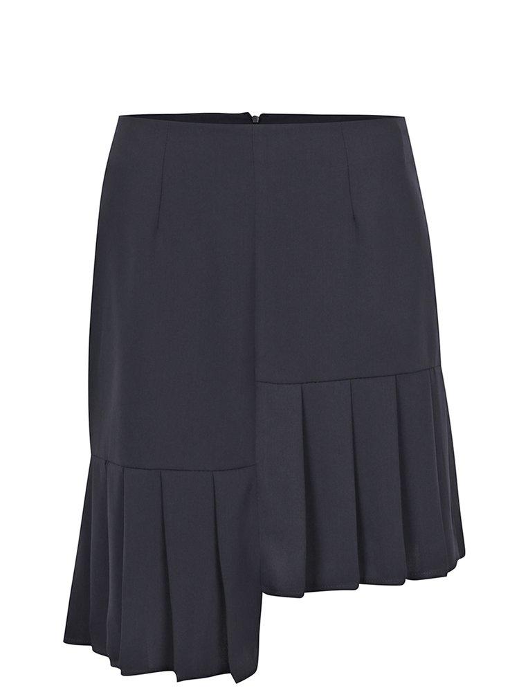 Tmavě modrá asymetrická sukně s volány VILA Inez