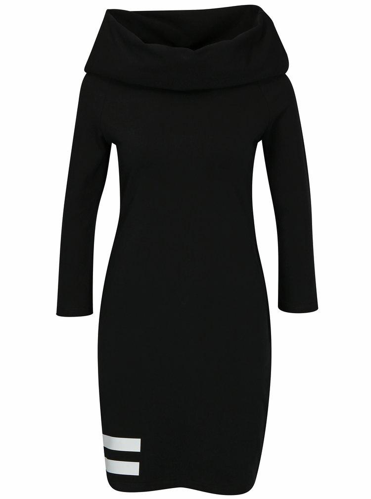 Černé šaty s rolákem a 3/4 rukávem Mikela da Luka