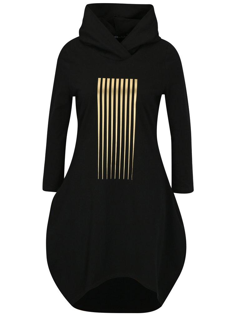 Černé balónové šaty s potiskem a kapucí Mikela da Luka