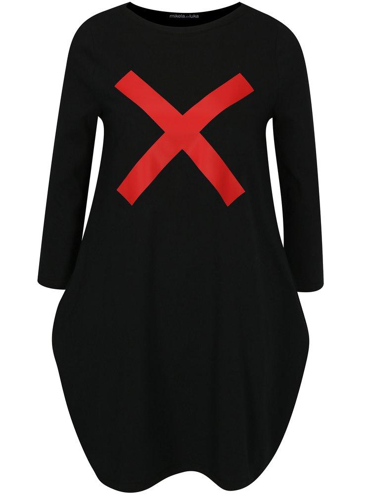 Černé balónové šaty s potiskem a 3/4 rukávem Mikela da Luka