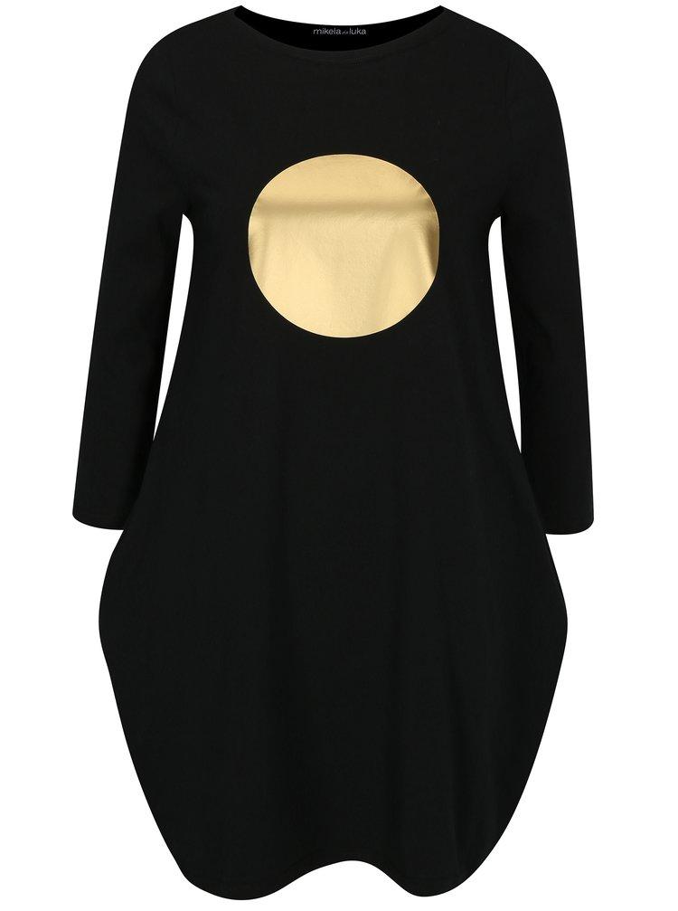 Čierne balónové šaty s vreckami a 3/4 rukávom Mikela da Luka