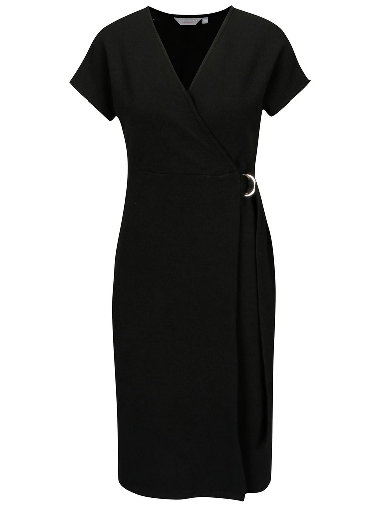 Černé zavinovací šaty s přezkou Dorothy Perkins Petite