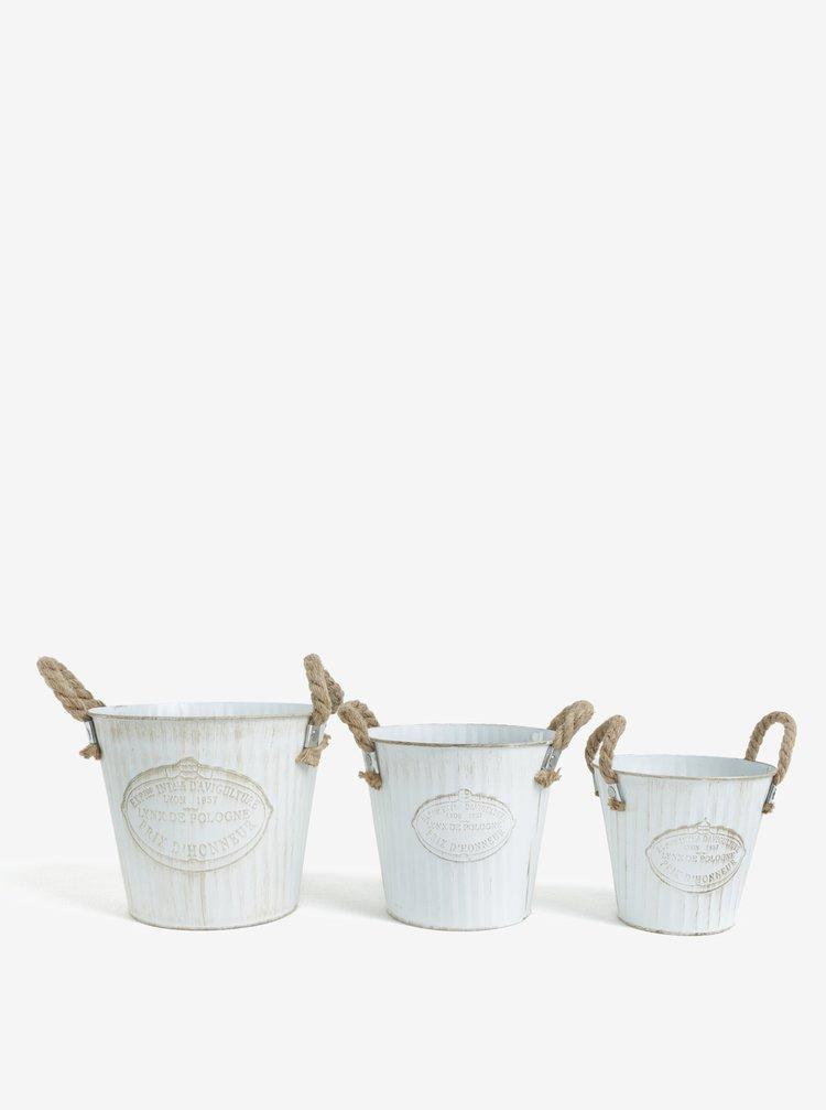Sada tří kbelíků v bílé barvě Kaemingk