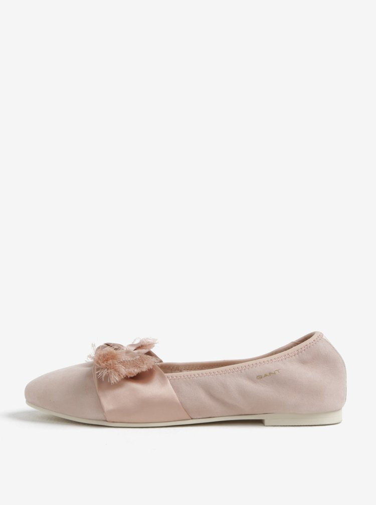 Svetloružové semišové baleríny s mašľou GANT Molly
