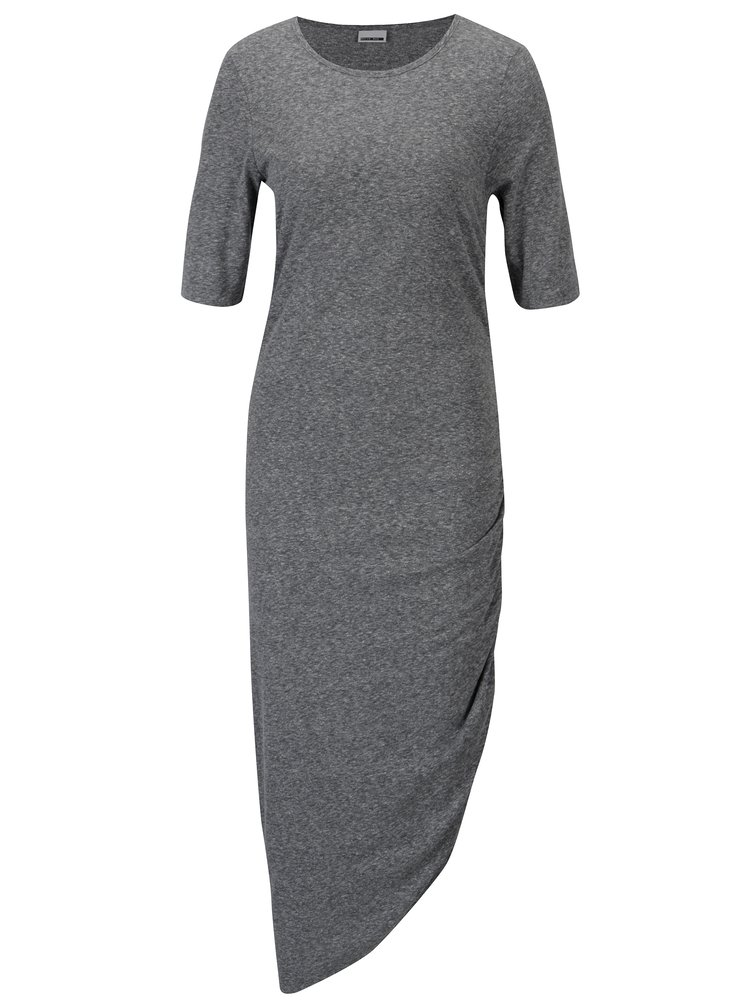 Šedé asymetrické šaty s řasením na boku Noisy May Ola