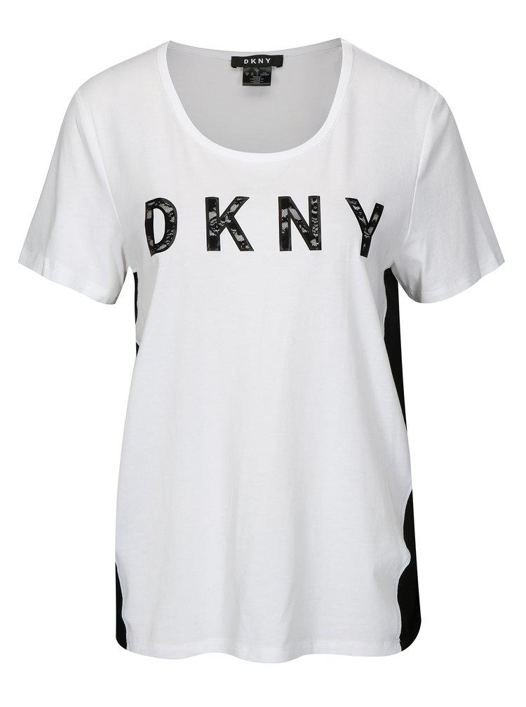 Tricou bicolor cu logo din dantela DKNY