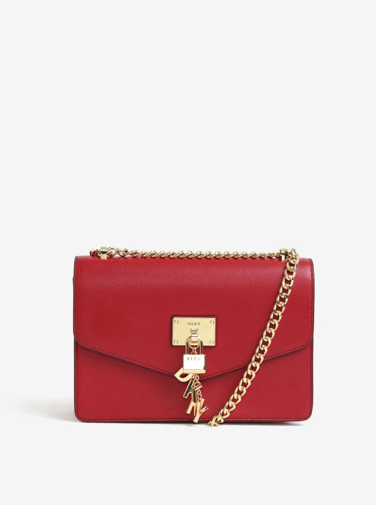 Červená kožená crossbody kabelka s detaily ve zlaté barvě DKNY Elissa
