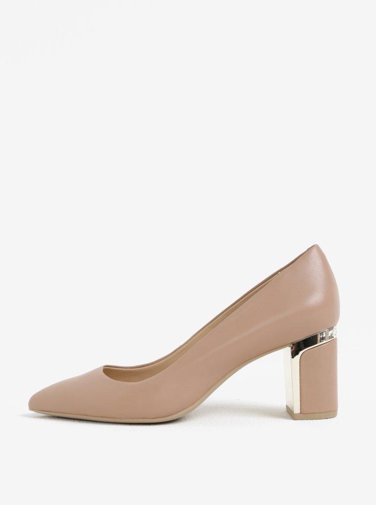 Pantofi din piele cu toc masiv roz prafuit si detaliu auriu - DKNY Elie