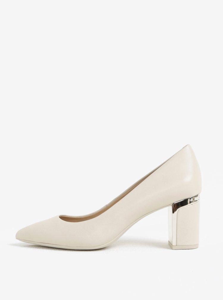 Pantofi crem din piele cu toc masiv si detalii aurii - DKNY Elie