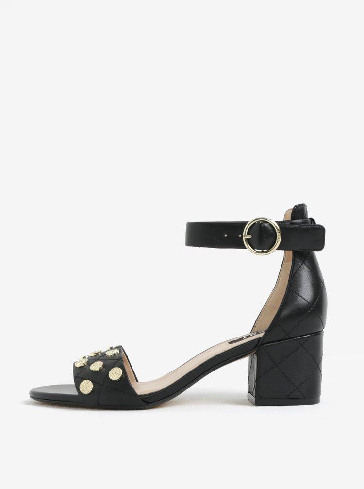 Černé kožené sandálky DKNY Henli