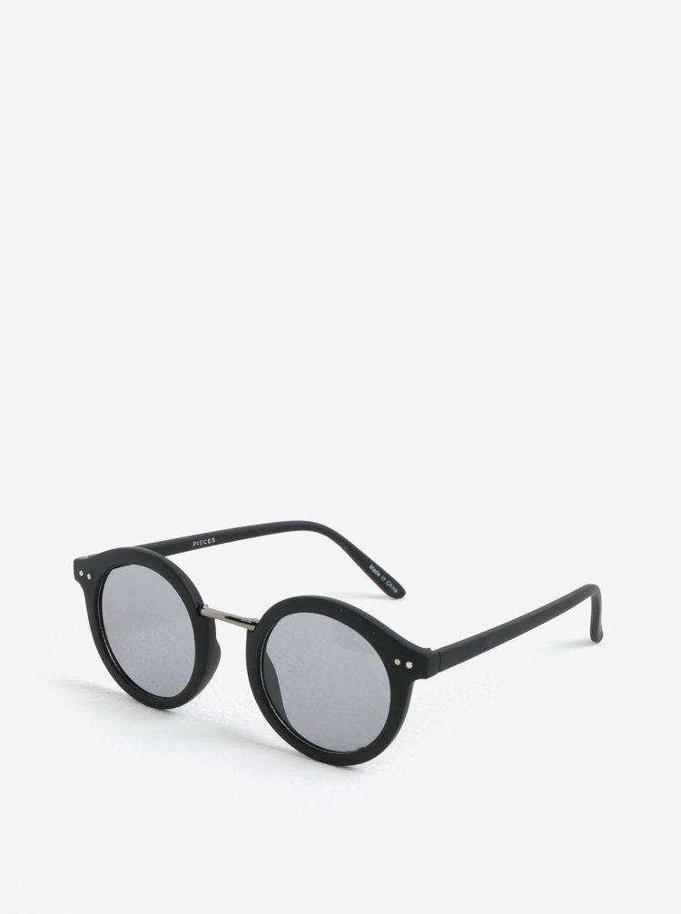 Ochelari de soare retro rotunzi negri cu aspect mat Pieces Ino