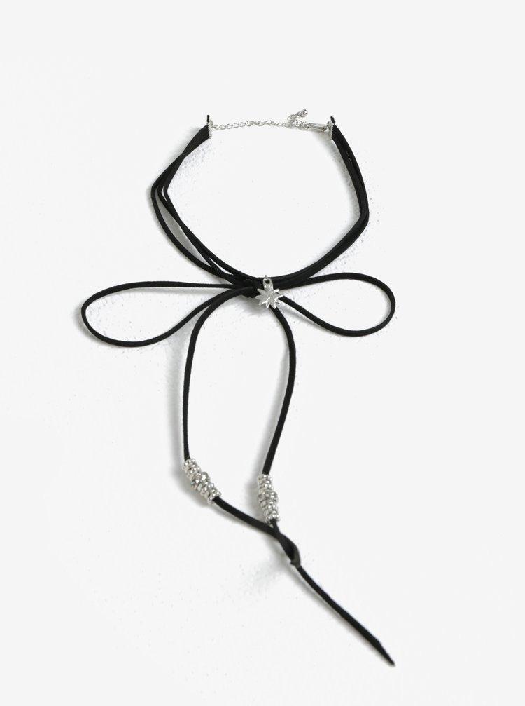 Choker tip siret negru cu pandantiv stea Pieces Gyros